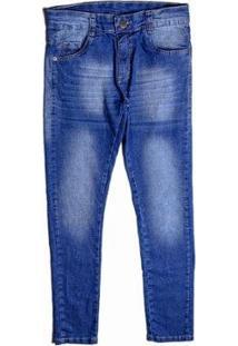 Calça Jeans Juvenil Besni Skinny Masculina - Masculino-Azul+Off White