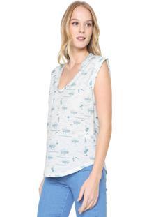 Camiseta Colcci Full Print Off-White/Verde