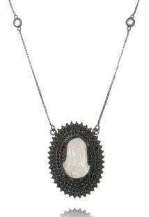 Colar Lua Mia Medalha Madrepérola Nossa Senhora Zircônias Negras