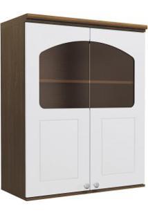Armário De Cozinha Aéreo Kappesberg G626 2 Portas Com Vidro Jacaranda Com Branco