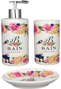 Kit Para Banheiro Em Porcelana Branco Escova Saboneteira Liquido Bain Design Amigold