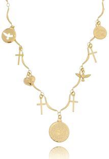 Colar Drusi Semi Joias Com Medalhas Religiosas Dourado