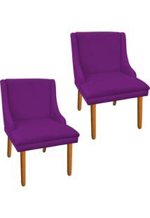 Kit 02 Cadeira Poltrona Decorativa Liz Suede Roxo - D'Rossi