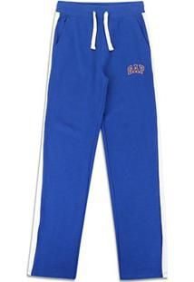 Calça Moletom Infantil Gap Detalhe Listra Masculina - Masculino-Azul