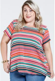 fd1d161e16 Blusa Feminina Listrada Fenda Plus Size Marisa
