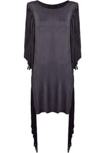 Fisico Vestido Com Franjas - Preto
