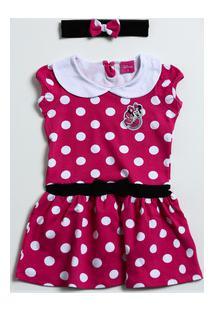 Vestido Infantil Minnie E Faixa De Cabelo Disney