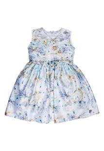 Vestido Infantil Estampado Fundo Do Mar Bordado - Anjos Baby Chic Azul