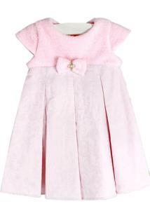 Vestido Cacau Baby Cetim Pelúcia Rosa Bebê