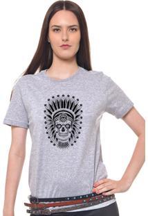 Camiseta Feminina Joss Caveira Indio Cinza Mescla