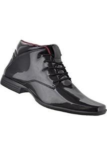 Bota Social Cr Shoes Verniz Masculina - Masculino-Preto