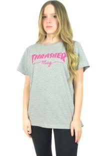 Camiseta Thrasher Magazine Feminina Mag Logo Cinza