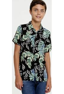 Camisa Juvenil Estampa Folhas Manga Curta Mr