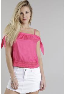 Blusa Open Shoulder Com Guipir Pink