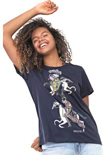 Camiseta Colcci Animais Azul-Marinho - Azul Marinho - Feminino - Algodã£O - Dafiti