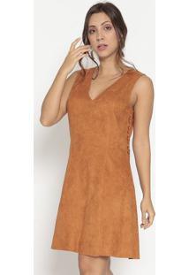 Vestido Em Camurça Com Ilhoses- Marrom Clarobobstore