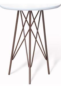 Mesa Lateral Redonda Melanie Branca E Bronze