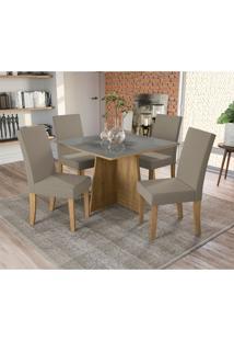 Conjunto De Mesa De Jantar Com Tampo De Vidro E 4 Cadeiras Lótus Suede Cinza E Freijó