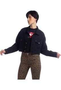 Jaqueta Jeans Levis Trucker Pleat Sleeve - 10001 - Feminino-Preto
