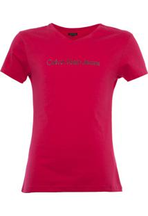Camiseta Calvin Klein Jeans Logo Relevo Infantil Rosa
