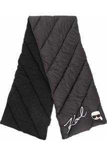 Karl Lagerfeld Cachecol Matelassê Com Logo - Preto
