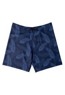 Boardshort Estampado Folhagem Masculino Mash Azul Marinho 40
