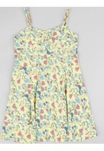 Vestido Infantil Estampado Floral Com Nó Alça Fina Amarelo