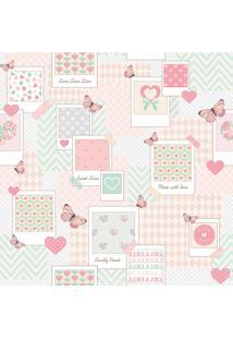 Papel De Parede Lymdecor Patch Love Rosa