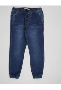 Calça Jeans Infantil Jogger Com Bolsos Azul Escuro