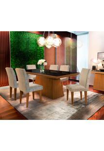 Conjunto De Mesa De Jantar Luna Ii Com Vidro E 6 Cadeiras Grécia Suede Amassado Imbuia E Chocolate