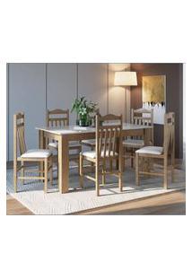 Conjunto Mesa Fixa 6 Cadeiras Ameixa Negra E Branco Lilies