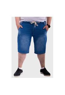 Bermuda Jeans Plus Size Com Cordão Mega Premium Masculino - Jeans Escuro Azul Escuro