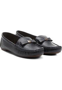 c4fe7e8d3f Mocassim Couro Shoestock Floater Monograma Feminino - Feminino-Marinho
