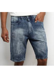 Bermuda Tbt Jeans Rasgada Masculina - Masculino-Azul