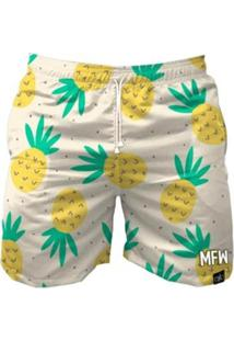 Bermuda Maromba Fight Wear Pineapple Summer Com Bolsos Masculina - Masculino-Branco