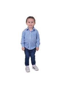 Camisa Social Xadrez Azul E Branca Infantil Slim