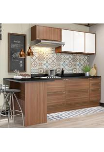 Cozinha Compacta Calábria 7 Portas Com Tampo E Rodapé Nogueira/Branco - Multimóveis
