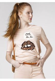 T-Shirt Com Decote De Acabamento Duplo E Estampa