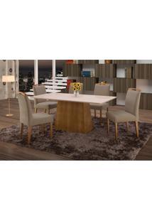 Conjunto De Mesa De Jantar Com 6 Cadeiras E Tampo De Madeira Maciça Turquia Iii Suede Marrom Médio E Off White