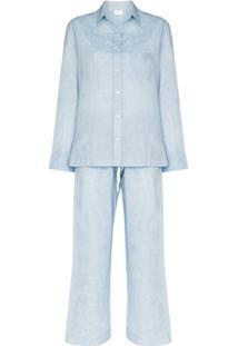 Pour Les Femmes Conjunto De Pijama De Algodão Orgânico - Azul