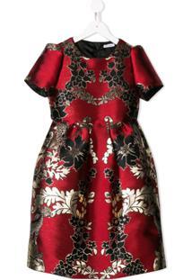 Dolce & Gabbana Kids Vestido Jacquard Floral - Vermelho