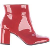 Bota Ankle Boots Salto Grosso Zatz Cano Curto - Feminino-Vermelho c6f335e0d4