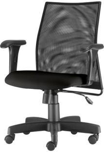 Cadeira Liss Com Bracos Curvados Assento Crepe Base Metalica Preta - 54490 Sun House
