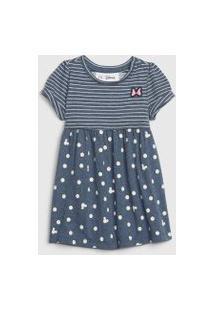 Vestido Gap Infantil Minnie Azul