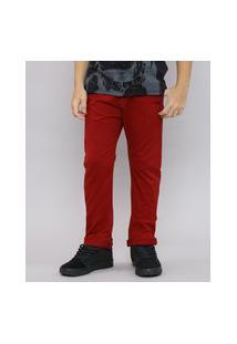 Calça De Sarja Infantil Color Slim Com Bolsos Vermelha