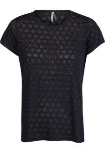 Camiseta Khelf Devorê Com Brilho Preto