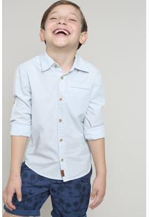 Camisa Infantil Listrada Com Bolso Manga Longa Azul Claro