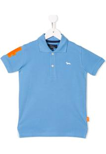 Harmont   Blaine Junior Embroidered Logo Polo Shirt - Azul bae56e6b43