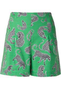 Eva Short Cintura Alta Estampado - Verde