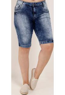 Bermuda Jeans Estonada Plus Size Feminina Azul